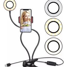 Aro Luz Led Selfie Flexible Lampara Video + Soporte Celular
