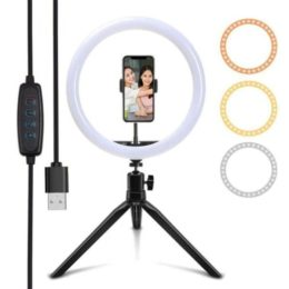 Lampara ARO 26cm Luz Led Selfie Streaming Soporte Celular Conexion USB